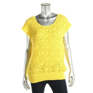 Joseph A Womens Pullover Sweater Crochet Front Ribbed Trim Yellow M