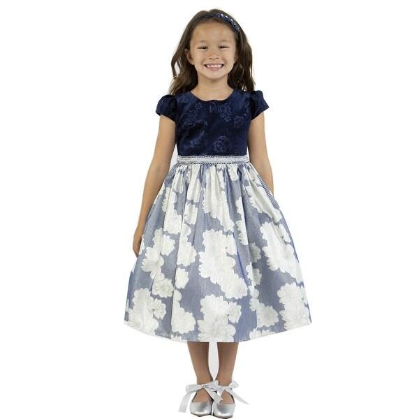 4ee91e1405c8f Shop Kids Dream Little Girls Navy Velvet Metallic Print Jacquard ...