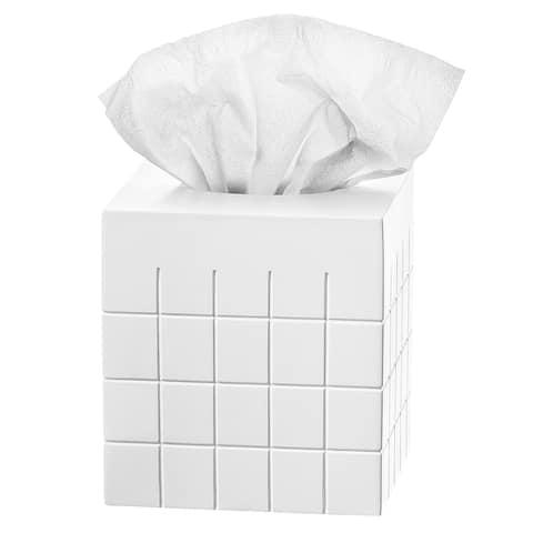 Polar Decorative Bathroom Tissue Holder, White Tissue Box Cover Square