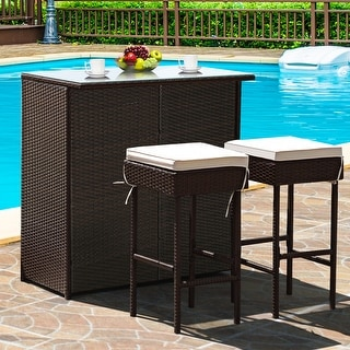 Link to Costway 3PCS Patio Rattan Wicker Bar Table Stools Dining Set Cushioned Similar Items in Patio Furniture