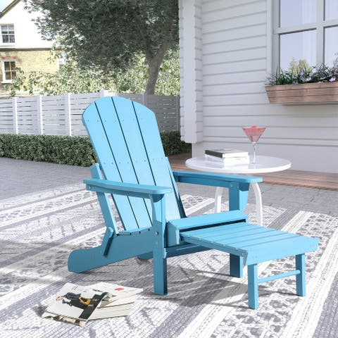 Hurley Folding Poly Plastic Adirondack Chair with Pull-out Ottoman