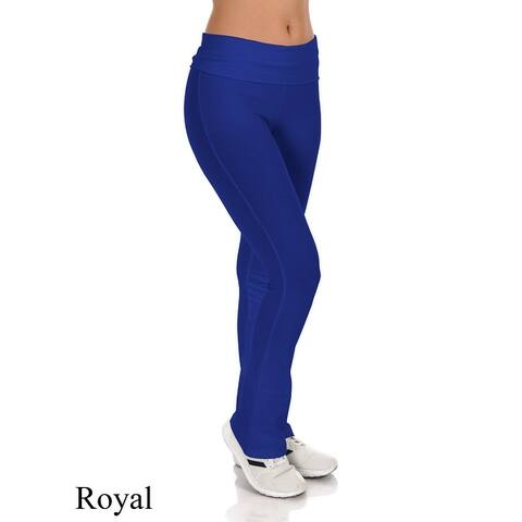 Simpy Ravishing Cotton Fold-Over Waist Yoga Boot Cut Pants (Size: XS-5X)