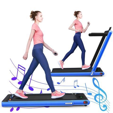 Gymax 2 in 1 Folding Treadmill 2.25HP Electric Pad Treadmill Running - 49'' x 27'' x 42''