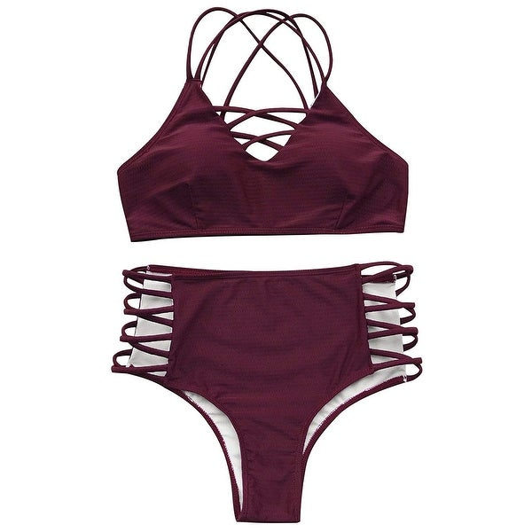 4b7498f86eff2 Shop Cupshe Red Wine Womens Size XL Strappy High Waist Two Piece Swimwear - Free  Shipping On Orders Over  45 - Overstock.com - 27173123