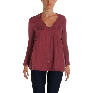 4Our Dreamers Womens Blouse Button Down Bell Sleeve