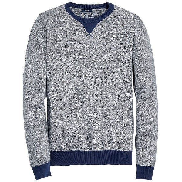 American Rag Marled Cotton Crewneck Sweater Deep Royale Blue Heather