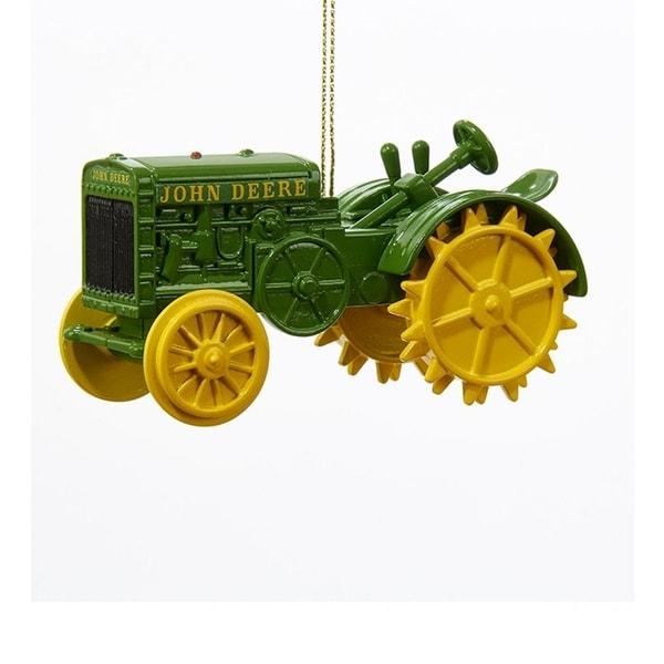 """3.75"""" John Deere 1923 Model D Farm Tractor Decorative Christmas Ornament - green"""
