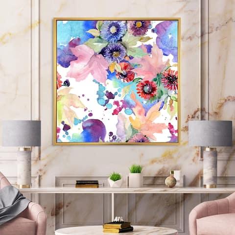 Designart 'Vibrant Wild Spring Leaves and Wildflowers VIII' Modern Framed Canvas Wall Art Print