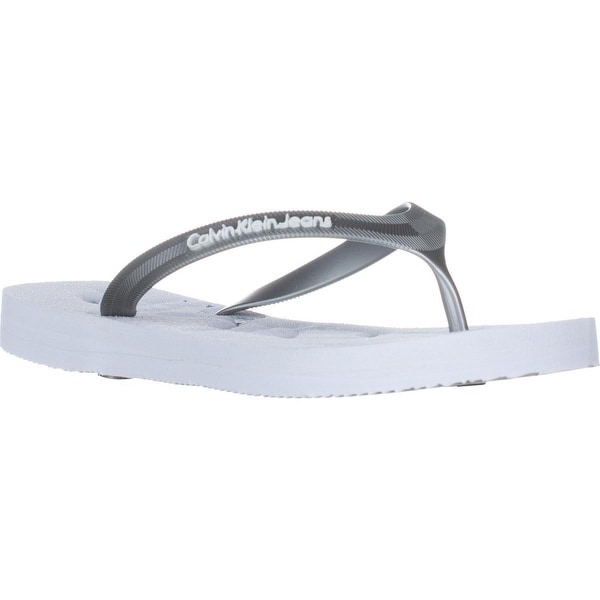 Calvin Klein Jeans Piccola Flip Flops, White/Silver