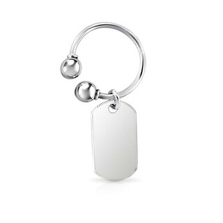 Bling Jewelry Mens 925 Sterling Silver Dog Tag Key Chain Ring
