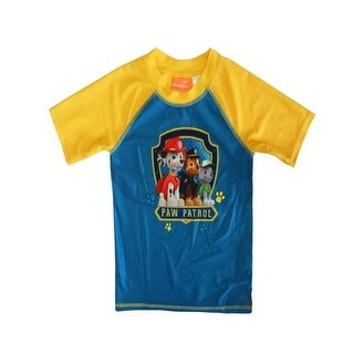Nickelodeon Little Boys Yellow Blue Paw Patrol Print UPF 50+ Rash Guard