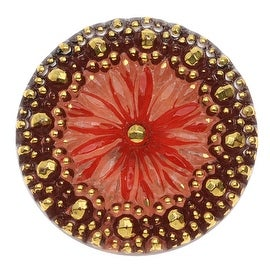 Czech Glass Flat Back Button Cabochons, Floral Design 27.5mm Round, 1 Piece, Red and Gold