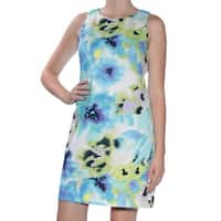 INC Womens Blue Printed Sleeveless Jewel Neck Above The Knee Fit + Flare Dress  Size: 8