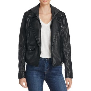 Blank NYC Womens Jacket Hooded Faux Leather