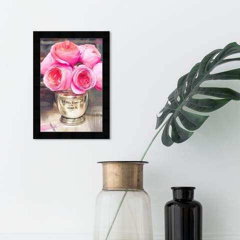 Oliver Gal 'Rue Cambon' Floral and Botanical Framed Wall Art Prints Florals - Pink, Gold