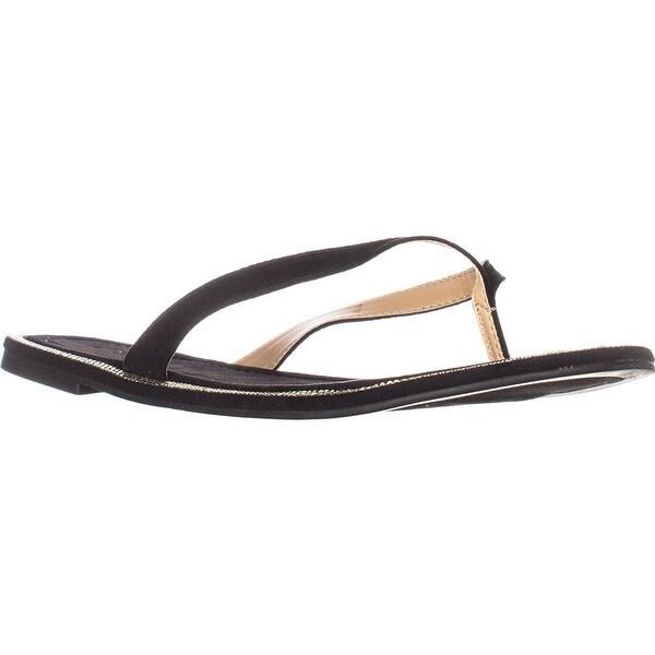Thalia TS35 Beda Flat Flip Flop Sandals - Black