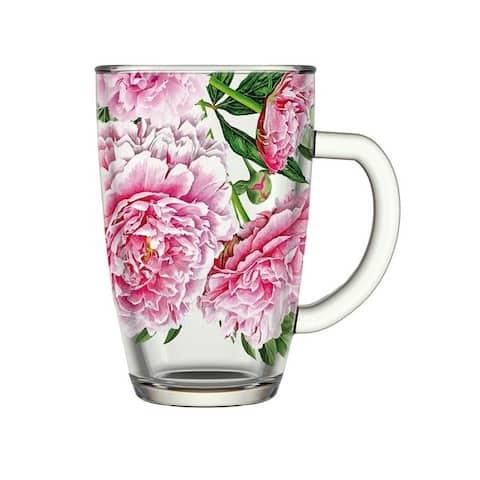 STP-Goods Peony Glass Tea Coffee Large Mug