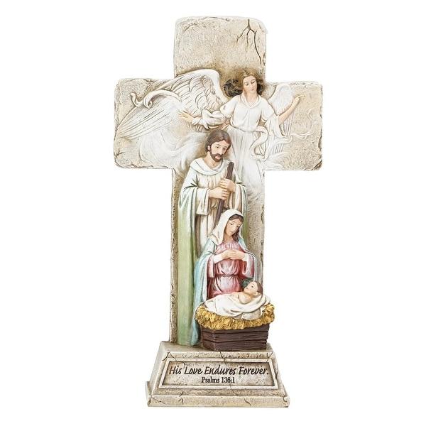 "9.25"" Joseph's Studio Cross with Holy Family Religious Christmas Tabletop Decoration"