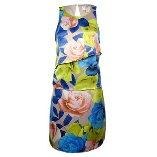 Jessica Simpson Women's Sleeveless Floral Print Tier Dress