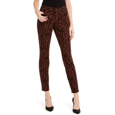 INC Women's Incessentials Tiger-Print Skinny Jeans Brown Size 16