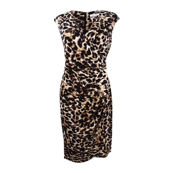4c331ddebac Shop Calvin Klein Women s Animal-Print Faux-Wrap Sheath Dress - Brown Multi  - On Sale - Free Shipping Today - Overstock - 22047950