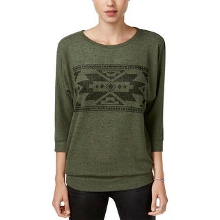 Hippie Rose Womens Juniors Casual Top Graphic Dolman Sleeves