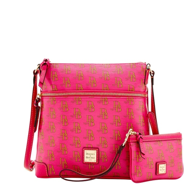 Dooney & Bourke 1975 DB Signature Crossbody & Med Wristlet (Introduced by Dooney & Bourke at $248 in Feb 2017) - Lipstick