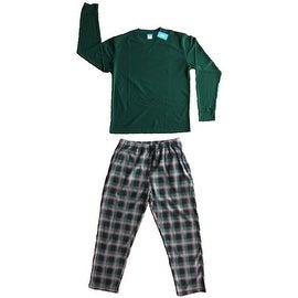 Men's 2 PC Thermal Top & Fleece Lined Pants Pajamas Set (Hunter Green)