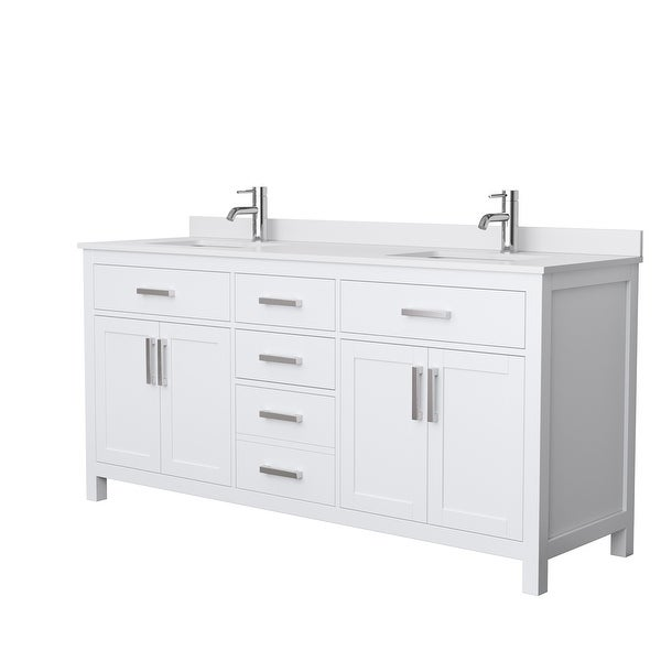 Beckett 72-inch Double Vanity with Cultured Marble Top. Opens flyout.