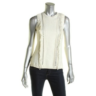 Lauren Ralph Lauren Womens Pullover Sweater Fringe Trim Sleeveless
