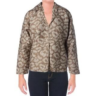 Lafayette 148 Womens Jacquard Long Sleeves Cardigan Top