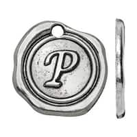 Lead-Free Pewter, Alphabet Charm Letter 'P' 18.5x19.5mm, 1 Piece, Antiqued Silver