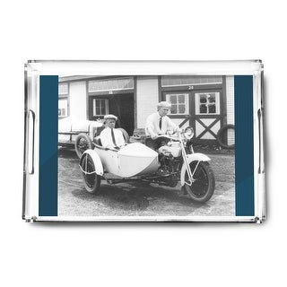 Men on Harley Davidson Motorcycle with Sidecar - Vintage Photograph (Acrylic Serving Tray)