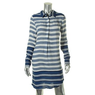 Beach Lunch Lounge Womens Striped Woven Shirtdress