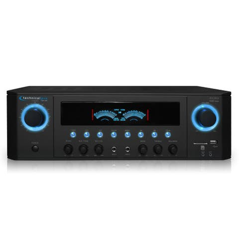 Technical Pro 1000W Professional Audio Receiver with USB/SD Card Input, MP3, IPod Compatible, Recorder, & Wireless Remote