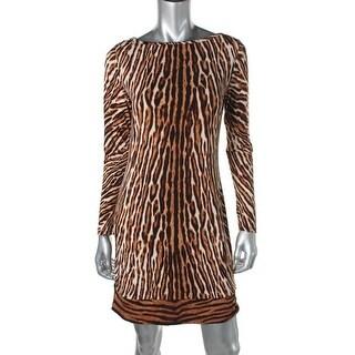 MICHAEL Michael Kors Womens Jersey Animal Print Cocktail Dress - S