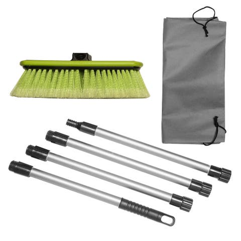 """Car Wash Brush 10"""" Dip Brush w/Soft Bristles, Side Protector, Adjustable 65"""" Handle & Carry Bag for Auto Home RV SUV Boat Truck"""