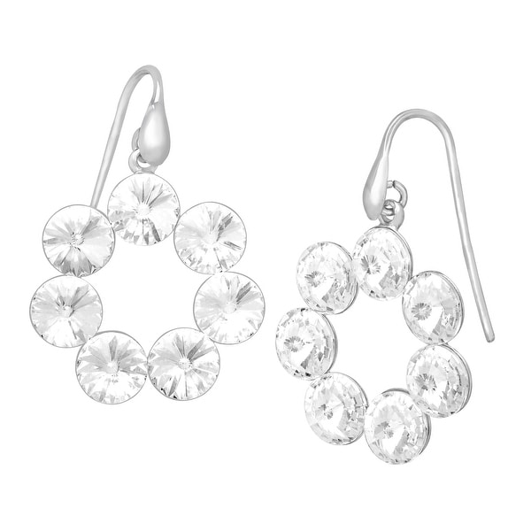 Crystaluxe Wreath Drop Earrings with Swarovski Crystals in Sterling Silver - White