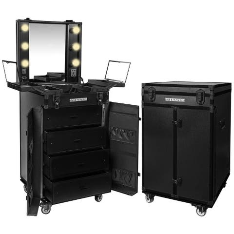 SHANY Light-Up Makeup Mirror Station with Multiple Compartments