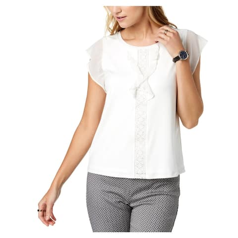 Tommy Hilfiger Womens Blouse Flutter Sleeves Ruffled