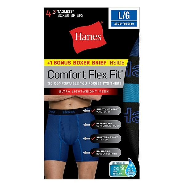 44e6657941f5 Shop Hanes Men's Comfort Flex Fit® Breathable Mesh Boxer Briefs 4-Pack  (includes 1 Free Bonus Boxer Brief) - Free Shipping On Orders Over $45 -  Overstock - ...