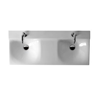 "WS Bath Collections Buddy 3404 Kerasan 39-3/8"" Ceramic Wall Mounted Bathroom Sinks with 1 Hole Drilled and Overflow"