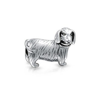 Bling Jewelry Dachshund Animal Bead Charm .925 Sterling Silver