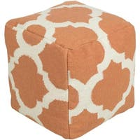 "18"" Burnt Orange and Ivory Spaded Spheres Wool Rectangular Pouf Ottoman"
