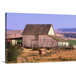 """Patriotic barn, God Bless America, Washington State"" Canvas Wall Art"