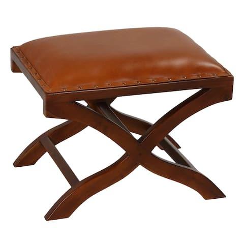 Bare Decor Daniela X Bench Ottoman in Genuine 100% Leather and Teak, Brown