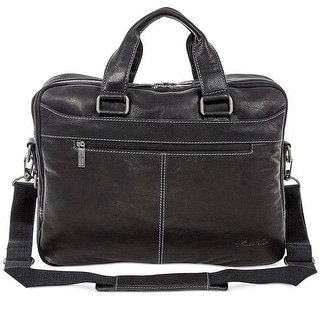 "Link to Kenneth Cole Take The Op-Port-Unity Top Zip 15.6"" Laptop Leather Briefcase Messenger Bag - Black - One Size Similar Items in Briefcases"