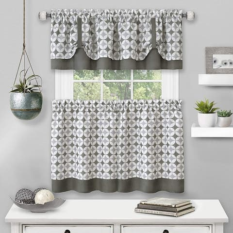 Callie Window Kitchen Curtain Tier and Valance Set, Tier 58x36 Inches, Valance 58x14 Inches