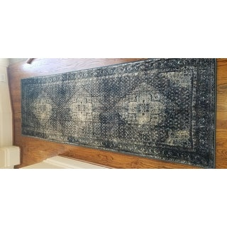 Gracewood Hollow Charlotte Traditional Distressed Oriental Blue/ Grey Area Rug
