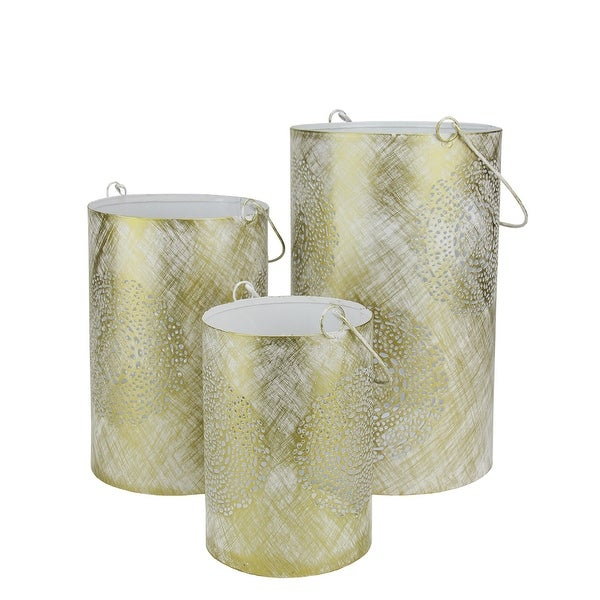 Set of 3 White and Gold Decorative Floral Cut-Out Pillar Candle Lanterns 10""